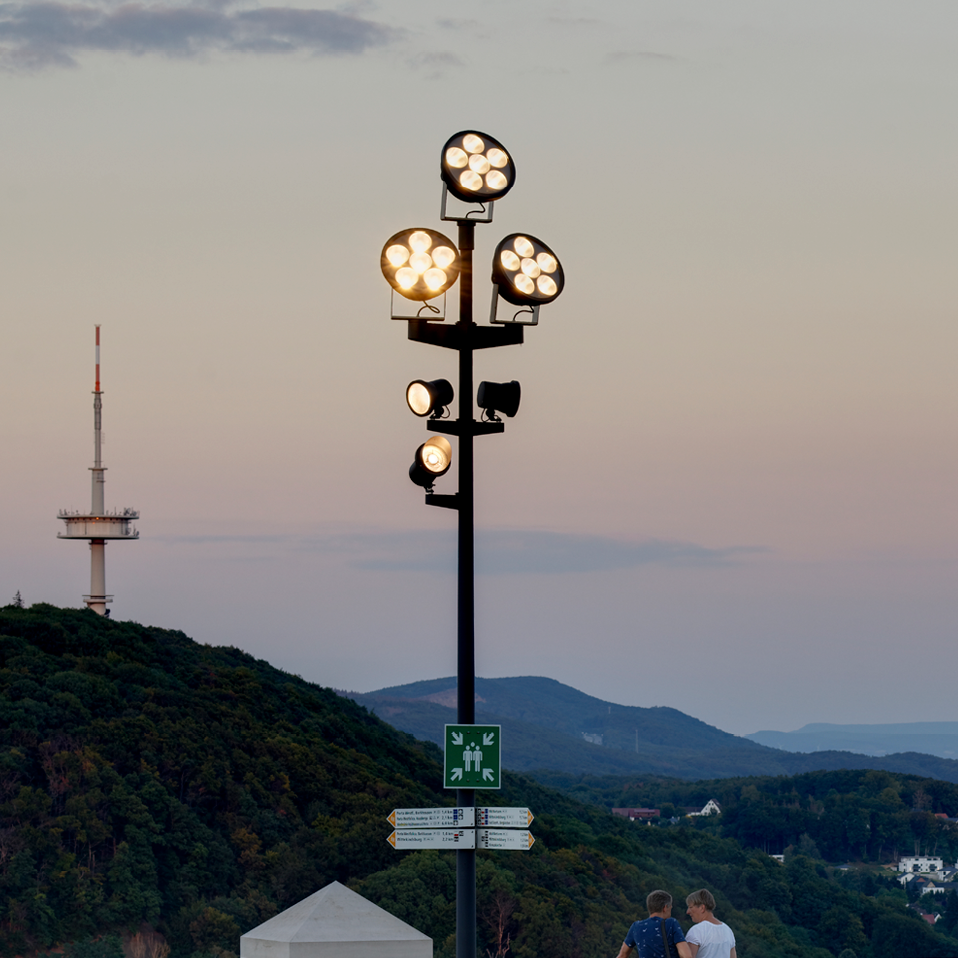 floodlights on pole